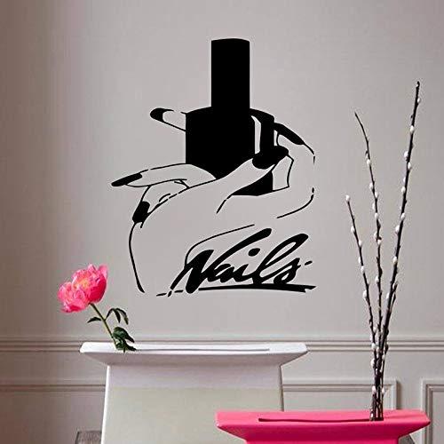 Tianpengyuanshuai Wandtattoos Wohnzimmer Mädchen Schlafzimmer Dekoration Nail Art Vinyl Wandaufkleber Schönheitssalon Nägel abnehmbar 50X63cm