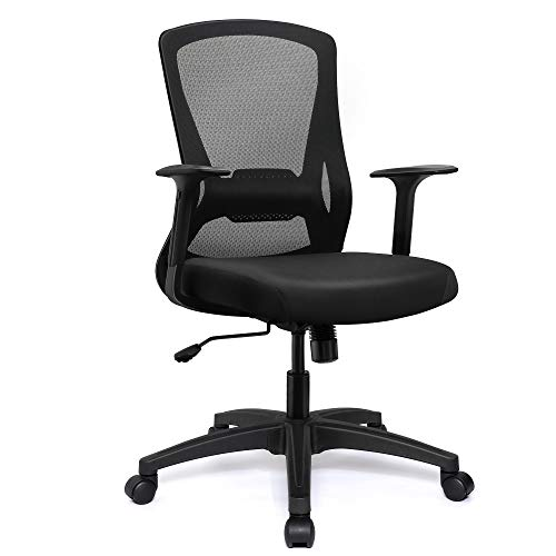 VigorPow Mesh Office Chair Ergonomic Mid Back Swivel Black Computer Desk Chair with Adjustable Height Lumbar Support Office Task Chair