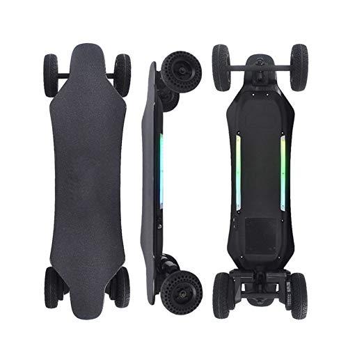 Skateboard Elektro Longboard mit Fernbedienung, LED Lichter Elektro Longboard Offroad 40 Kmh Teenager Elektro Longboards Erwachsene, Dual-Motor, Reichweite 20 Km, 2 Radsätze
