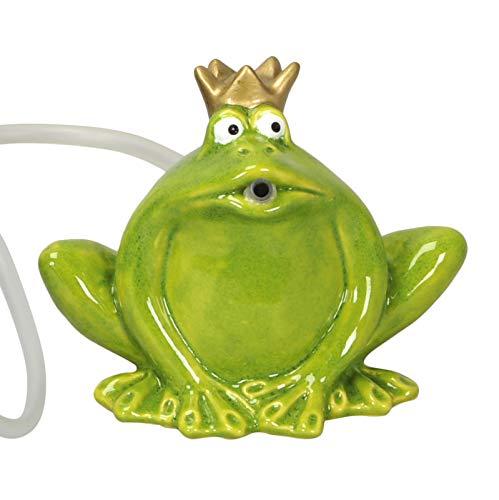 Gartenzaubereien Wasserspeier Frosch grün aus Keramik, Solarpumpe