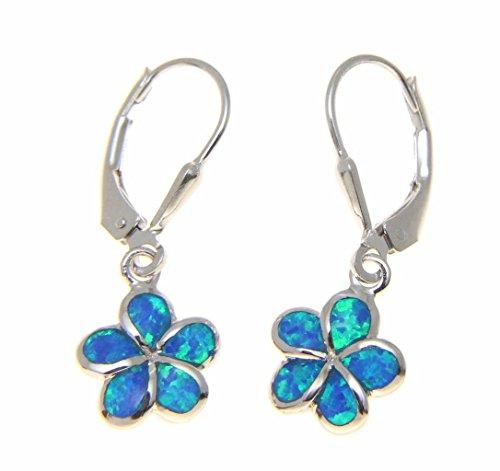 925 sterling silver inlay synthetic opal 10mm Hawaiian plumeria flower leverback earrings