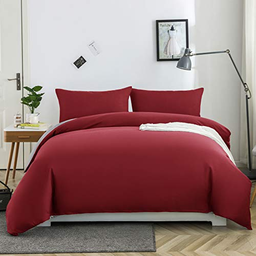 MOHAP Non-Iron Double Duvet Cover Set Plain Brushed Microfiber Bedding Duvet Cover with Pillowcases Red and Grey