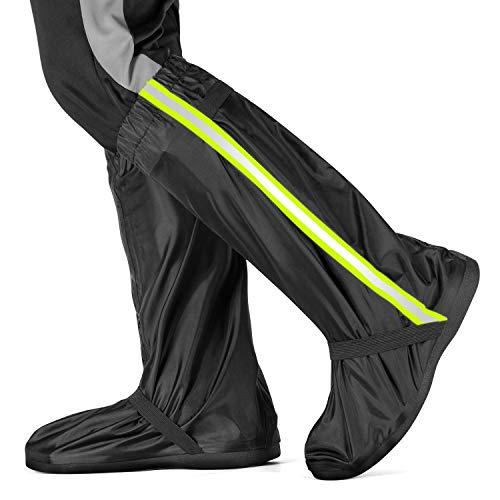 Vihir Unisex Silikon Überschuhe Fahrrad Überschuhe Wasserdicht Regenüberschuhe Outdoor wasserdichte Mehrweg rutschfeste Schuhüberzieher Regenstiefel mit Reflektoren, Schwarz-XXL