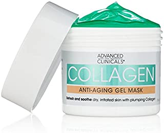 Advanced Clinicals Collagen Anti-Aging Gel Mask with Coconut Oil and Rosewater. Plumping mask for wrinkles, fine lines. Su...