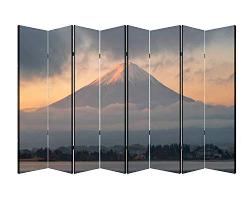 8 Panels Wall Divider Mount Fuji and The Morning Fog in Autumn at Lake Kawaguchiko Japan s Folding Canvas Privacy Partition Screen Room Divider Sound Proof Separator Freestanding Protective Divider