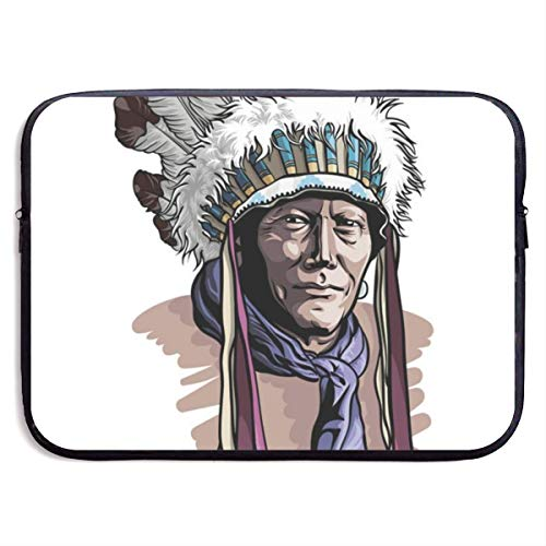 Apache Man Wearing an Indian Chief Headdress 13-15 Inch Laptop Sleeve Bag Portable Dual Zipper Case Cover Pouch Holder Pocket Tablet Bag,Water Resistant for Women Men Unisex