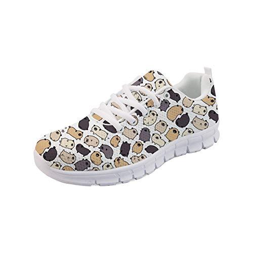 HUGS IDEA Damenmode Sneakers Mesh Atmungsaktiv Bequeme Trainer Sport Fitness Training Laufen Jogging Mops Doodle Print Schuhe für Frauen - Größe: EU 42