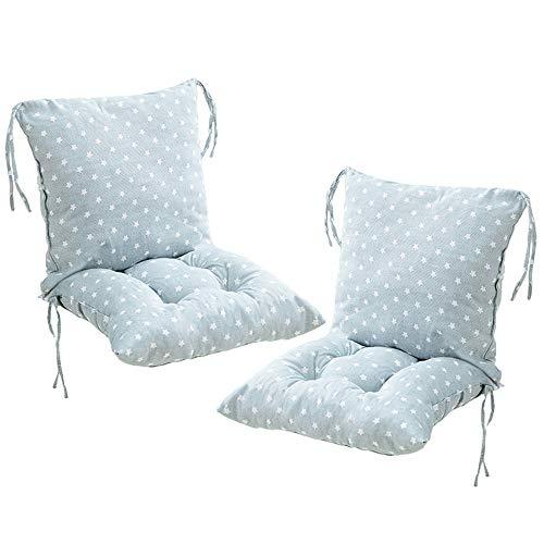 Deike Mild 2 Stück Stuhlkissen mit Rückenteil Sitz, Rückenkissen mit Bänder, Niedriglehner Auflage Polsterauflage Gartenstuhl (I,40x40cm)