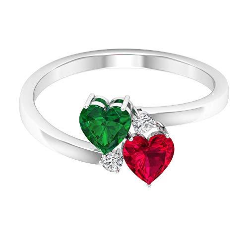 Anello da donna in oro da 0,6 carati, con smeraldo certificato SGL, con rubino da 0,7 carati, anello da anniversario con diamante antico, solitario a forma di cuore, 14K Giallo oro, Size:EU 61