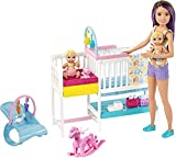 Barbie Nursery Playset with Skipper Babysitters Doll, 2 Baby Dolls, Crib and 10+ Pieces of Working Baby Gear and Themed Toys, Gift Set for 3 to 7 Year Olds, Multicolor