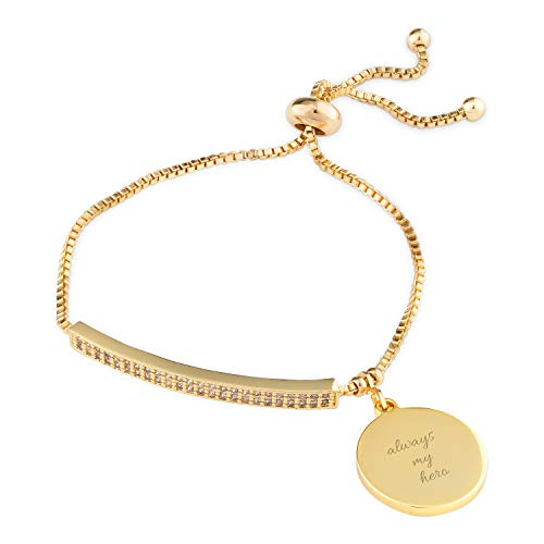 Things Remembered Personalized Gold Tone Bar Lariat Bracelet with Engraving Included