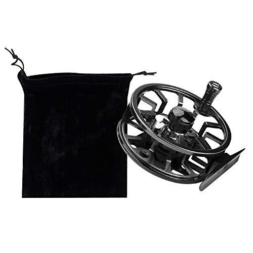 Fly Fishing Reel, Carrete de Pesca con Mosca de Aluminio Ligero Full Metal Izquierda Derecha Mosca Hielo Pesca Carrete Reemplazo(95mm-Negro)