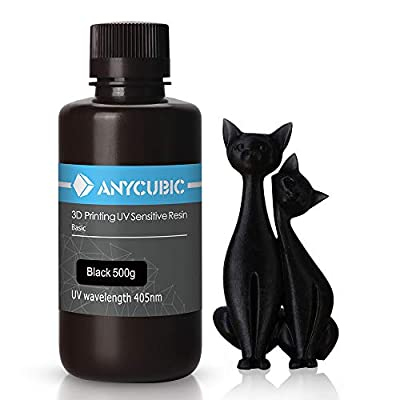 ANYCUBIC 3D Printer Resin, 405nm SLA UV-Curing Resin with High Precision and Quick Curing & Excellent Fluidity for LCD 3D Printing - 500ML/Black