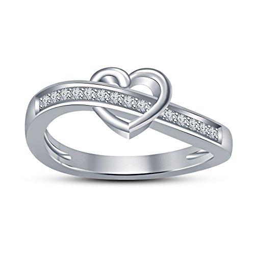 Astilla esterlina Vorra de corte redondo CZ corazón plateado platino Tiffany Engagement-anillo de boda
