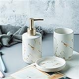 Huasheng Negro de mármol Blanco de baño de cerámica Set de Accesorios for cepillos de Dientes Titular dispensador de jabón Plato Vaso Artículos for el Hogar Almacenamiento (Color : 3pcs White)