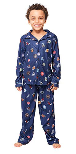 Ultra Game Boys' NBA 2 Piece PJs Lounge Flannel Set, Multi-Team, Navy, 10-12
