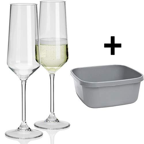 2x Polycarbonat Weinglas Rotwein 290ml Gläser + Waschschüssel für Camping Küche Trinkkelch Goblet glasklar elegantes Design Outdoor Partyglas Bruchfest Kunststoff Glas Trinkglas Wasserglas Sektglas