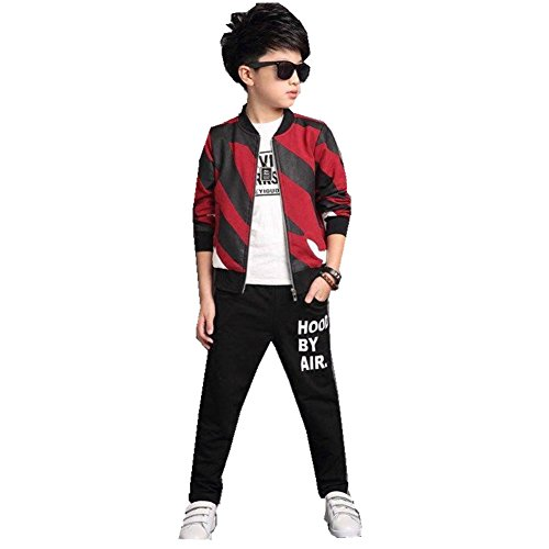 FTSUCQ Boys Zip Front Sports Tracksuits Striped Shirt Jacket Coat + Pants,Red 140