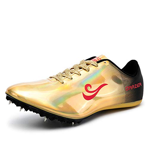 BETOOSEN Men's Women's ORRZER Track and Field Shoes Spikes Running Training Sneakers Lightweight Jumping Athletics Track Shoes for Boys and Girls (4 Boys/Girls/Women, Gold)
