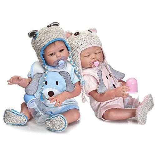 Minidiva RB147 - Bambole rinate, 2 pezzi, 50 cm, per ragazzo e ragazza, in morbido silicone, per neonati, realistici e rinati, regalo di Natale