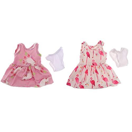 MagiDeal Gedruckt Casual Dress Outfit Amerikanische Puppe 18 Zoll Puppenkleidung Dress Up