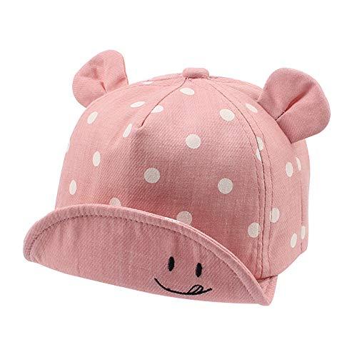 Pesaat Polka Coton Bébé Casquette pour Fille Garçon Enfant Chapeau de Soleil Casquette de Réglable Printemps Été Automne 6 à 24 Mois (Rose)