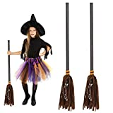 Skylety 2 Pieces Witch Broomstick Costume Accessories Realistic Wizard Flying Broom Stick Removable Costume Prop for Halloween