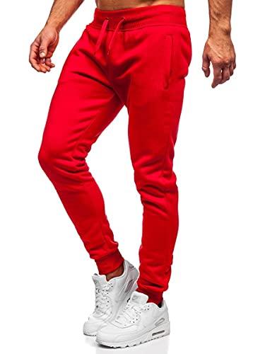 BOLF Hombre Pantalón De Chándal Jogger Pantalones Deportivos Pantalón de Algodón Estilo Urbano XW01-A Rojo XL [6F6]