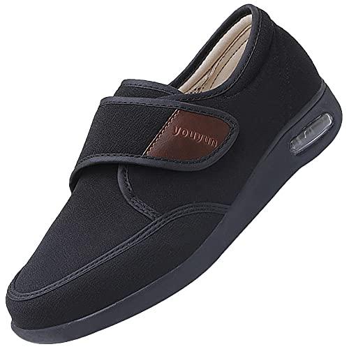 Zapatos DiabéTicos Para Hombre Ajustable,Velcros Para Un Ajuste Idoneo Para Pies Delicados,black_35