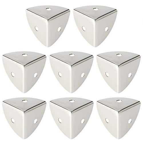 Sayayo Soportes protectores de esquina de metal para caja de tronco de madera, caja de vuelo, tratamiento antioxidante, acabado de metal cepillado, 8 unidades, EBJ025-8P