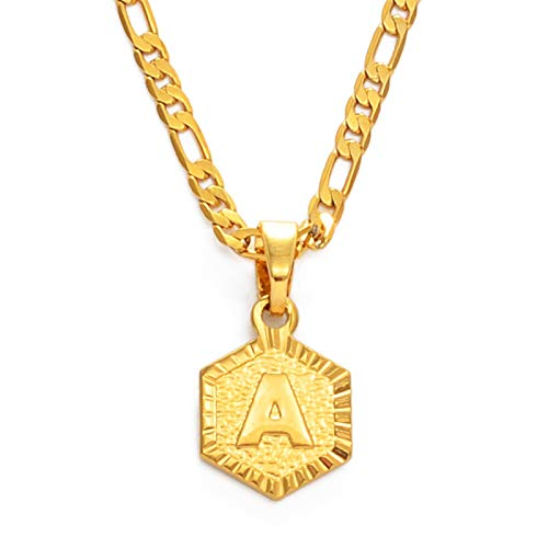 FQSCX Necklace Pendant Jewelry A-Z Letters Charm Pendant Necklaces for Women Men Girls English Initial Alphabet Chains Gold Color Jewelry Gifts 45cmby3mmChain R