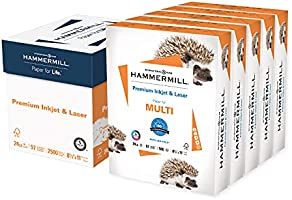 Hammermill Printer Paper, Premium Inkjet & Laser Paper 24 Lb, 8.5 x 11 - 5 Ream (2,500 Sheets) - 97 Bright, Made in the...