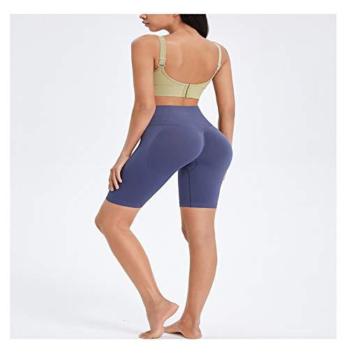 QZH Pantalones de Rodilla de Yoga Pantalones de Cintura Alta de Mujer Pinza elástica de Cinco Puntos Pantalones Cortos de Deportes Casuales para Gimnasio,Azul,M