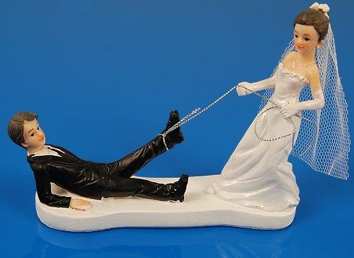 SiDeSo® Tortenaufsatz Hochzeit Tortendeko Brautpaar Tortenfigur (Schnur)