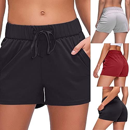 Briskorry Pantalones cortos de deporte para mujer, pantalones cortos, pantalones cortos para correr, pantalones holgados, pantalones para correr, de un solo color, para tiempo libre, con bolsillos
