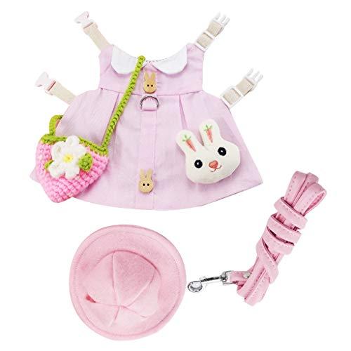 MagiDeal Bonito Vestido de Mascota con Accesorios. Conejo Conejillo de Indias Falda arns Correa Ropa para el Verano otoo Traje de Fiesta de Boda - Pink_S