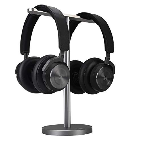Double Headphones Stand, Jokitech Aluminum Alloy Desk 3 Headset Holder Supporting Desktop Earphone Hanger Mount Storage Rack with Heavy Base for Home and Office Display Spacegrey