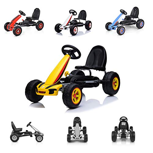 Moni Kart Infantil Fever Coche de Pedales neumáticos de plástico Freno de Mano, Color:Amarillo