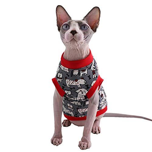 Sphynx Haarloses T-Shirt für Katzen und kleine Hunde, atmungsaktiv, Baumwolle, XL (10-12 lbs), Katzen & Hunde