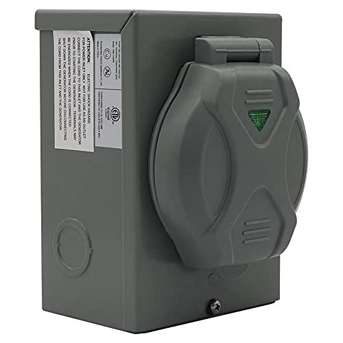 Joliy 125/250V Wetterfester 30A Generator Auto RV Power Inlet Box für 4 Zinken Generatorkabel Reiseanhänger Zubehör