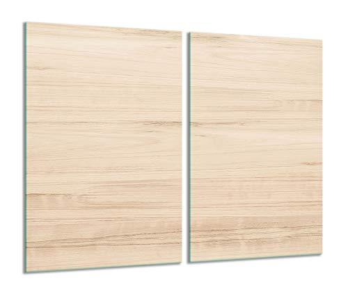 2 placas protectoras para vitrocerámica de madera beige 2 x 30 x...
