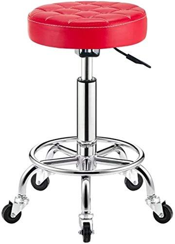 JYHJ Silent Casters - Silla de bar giratoria de 360 °, silla de belleza, banco de acero, taburete de salón de belleza, color rojo, nombre del color: blanco (color: rojo)