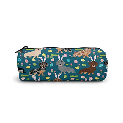Doxie Federmäppchen mit Osterei-Dackel-Hunden Ostereier-Federmäppchen aus Segeltuch für Schreibwaren-Tasche Büro Aufbewahrung Organizer Münzbeutel für Schule Teenager Mädchen Erwachsene