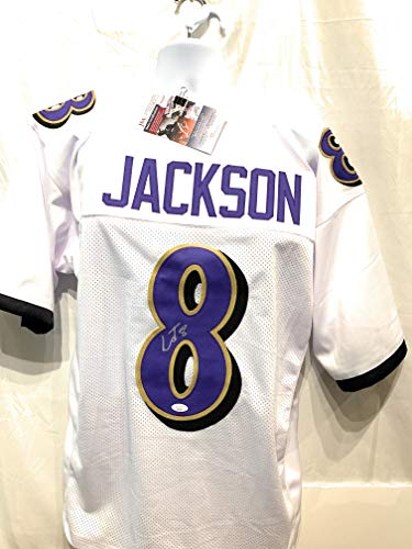 Lamar Jackson Baltimore Ravens Signed Autograph White Custom Jersey JSA Certified