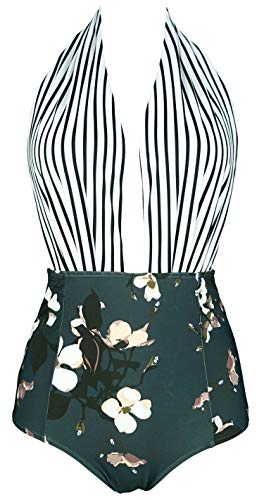 COCOSHIP Black White Striped & Bloom Floral Retro One Piece Backless Bather Swimsuit High Waist Pin Up Swimwear Bath Maillot XXXL(US14)