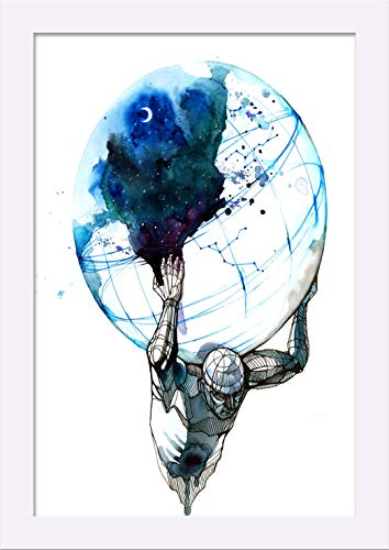 Abstract Ink Art of Atlas Holding the Earth 9023345 (12x18 Giclee Art Print, Gallery Framed, White Wood)