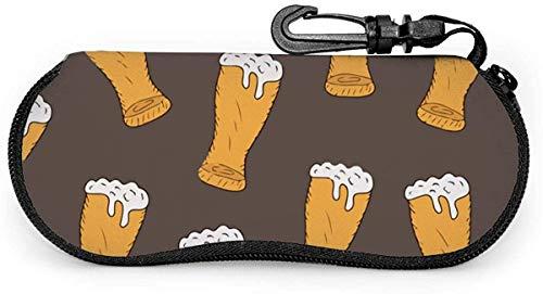MODORSAN Cerveza Gafas de sol Estuche blando Estuche protector con cremallera Estuche protector con clip para cinturón
