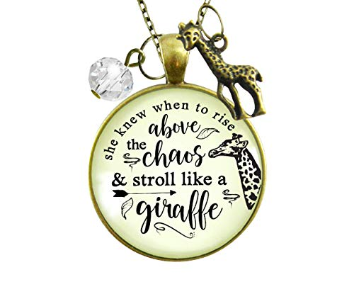 """Gutsy Goodness 24"""" Giraffe Necklace She Knew Rise Above Chaos Friendship Quote Jewelry"""