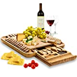 Premium Bamboo Cheese Board Set - Wooden Charcuterie Board Serving Platter with Knife Set, Hidden Slid-Out Drawer - Ideal Gift for Wedding, Housewarming, Bridal Shower, Birthday