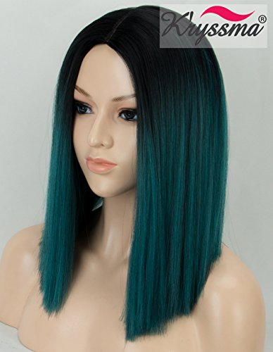 K'ryssma Ombre Green Synthetic Wig with Black Roots, Short Bob Wig with Middle Parting Dark Green Heat Resistant Hair Wig for Women Full Machine Made